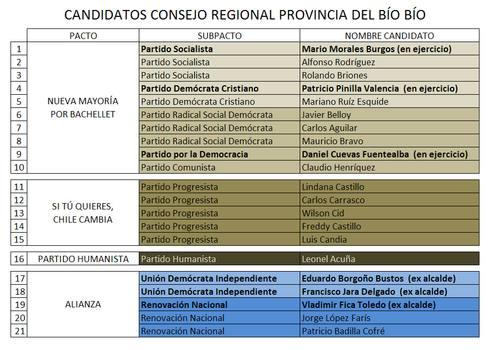 LAJINO.CL ES LAJA EN INTERNET // Candidatos a Consejeros Regionales Provincia de Bío-Bío: Nueva Mayoría busca la reelección y la Alianza apuesta por ex alcaldes
