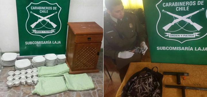 Personal policial en Laja realiza procedimientos por robos, Ley 20.000 y porte de armas